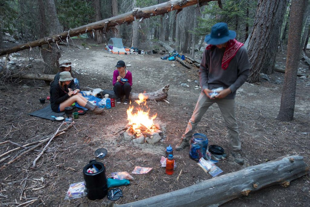 The kids love campfires, and since fires aren't allowed above 10,000 feet I figured, what the heck. You can see everyone was hungry and enjoying their dinner.