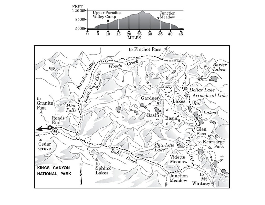 Map of the Rae Lakes Loop in Kings Canyon National Park