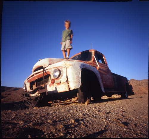 Title: Old Trucks & Young Boys Camera: Zero Image 6x6 Multi-Format Pinhole Photo Film: Fuji Velvia 100 Fujichrome Film © 2007 Chris Keeney
